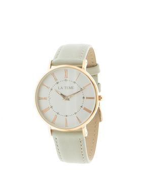 Le Teme Rose Gold Ladies Watch Grey Leather Strap - Grey