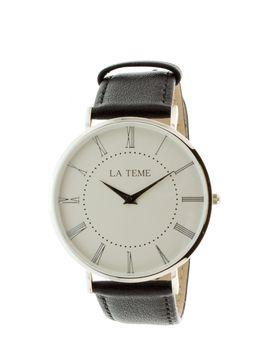 Le Teme Steel Gents Leather Strap Watch - Black