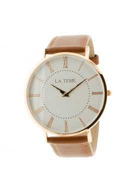 Le Teme Rose Gold Gents Leather Strap Watch - Brown