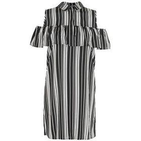 Quiz Black Stripe Ruffle Cold Shoulder Shirt Dress