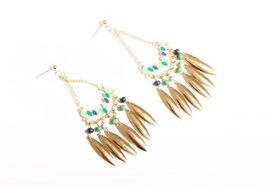Tribal Jade And Gold Dangle
