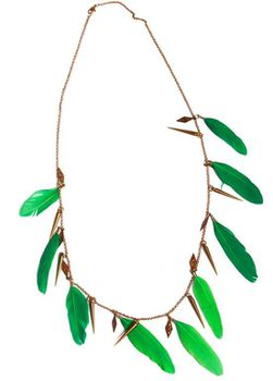 Tribal Green Feathers Antique Gold Necklace