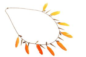 Tribal Orange Feathers Antique Gold Necklace