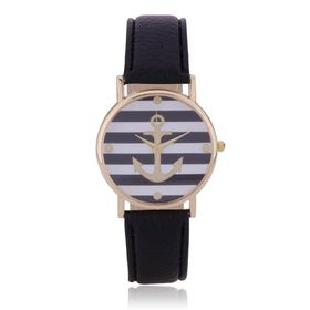 Gold Anchor Analogue Quartz Ladies Wrist Watch with a Striped Black and White face and Black Leather Strap
