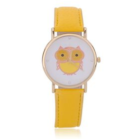 Rose Gold Owl Analogue Quartz Ladies Wrist Watch with a Yellow Leather Strap