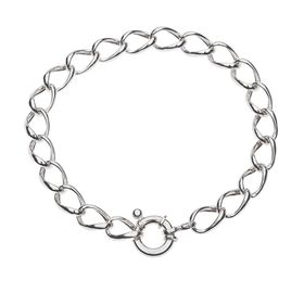 925 Sterling Silver Ladies 7.5mm Oval Curb Bracelet