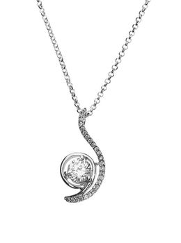 925 Sterling Silver 24mm C.Z Pendant Necklace