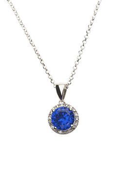 925 Sterling Silver Blue Sapphire C.Z Halo Pendant Necklace