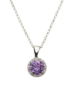 925 Sterling Silver Amethyst C.Z Halo Pendant Necklace