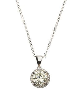925 Sterling Silver Lemon Quartz C.Z Halo Pendant Necklace