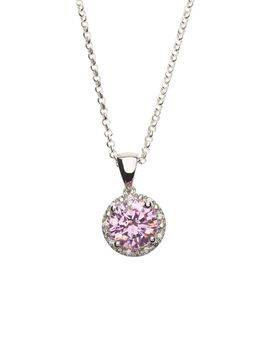 925 Sterling Silver Pink Sapphire C.Z Halo Pendant Necklace