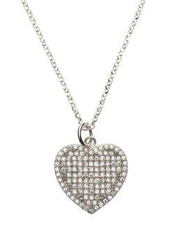 925 Sterling Silver 18mm C.Z Heart Pendant Necklace