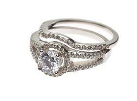925 Sterling Silver C.Z Twin Set Wedding Ring - Size N