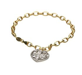 9ct-925 Gold Fusion Filigree Heart Charm Bracelet