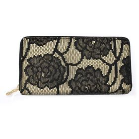 TLP054 Black Floral Lace With Gold Background Zip Through Purse
