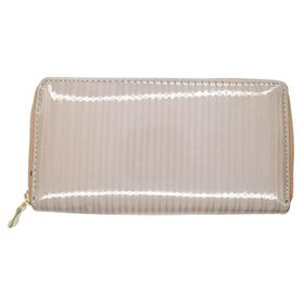TLP057 Pale Brown Metallic Striped Zip Through Purse