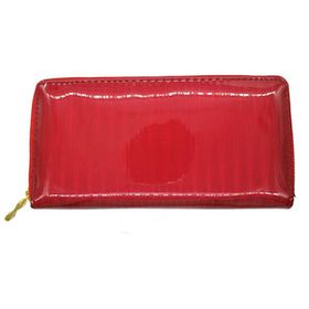TLP061  Red Metallic Striped Zip Through Purse