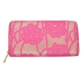 Lily & Rose TLP062 Pink Floral Lace with Gold Background Zip Through Purse