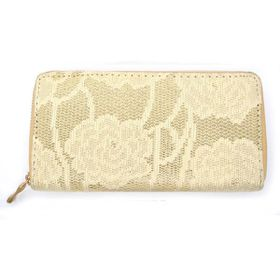 TLP067  Cream Floral Lace With Gold Background Zip Through Purse