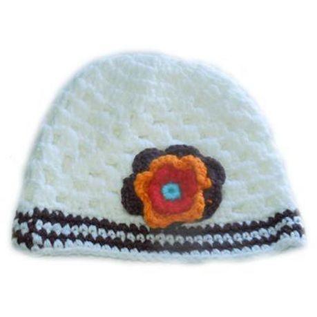 83b398f0842 Baby Headbands Flower Knitted Beanie - White