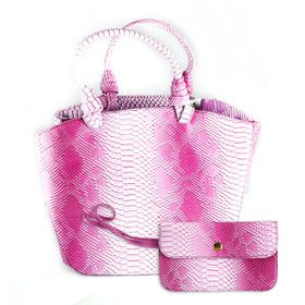 Lily&Rose Pink Two Tone Faux Snake Tote Bag With Purse TLB064