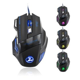Zelotes 5500 DPI 7 Button LED Optical USB Wired Gaming Mouse - Black