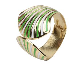 Arm Candy Fan Shell Hinged Cuff Bracelet - Green and White