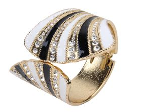 Arm Candy Fan Shell with Rhinestones Hinged Cuff Bracelet - Black and White