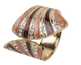 Arm Candy Fan Shell with Rhinestones Hinged Cuff Bracelet - Wood Brown