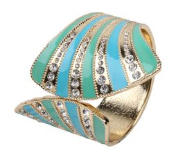 Arm Candy Fan Shell with Rhinestones Hinged Cuff Bracelet - Mint and Baby Blue