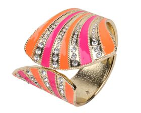 Arm Candy Fan Shell with Rhinestones Hinged Cuff Bracelet - Orange and Pink