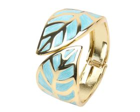 Arm Candy Leaf with Enamel Inlay Hinged Cuff Bracelet - Baby Blue