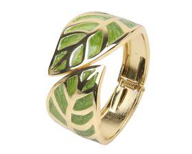 Arm Candy Leaf with Enamel Inlay Hinged Cuff Bracelet - Green