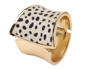 Arm Candy Cheetah Faux Fur Hinged Cuff Bracelet