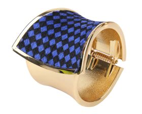 Arm Candy Blue and Black Checked Faux Fur Hinged Cuff Bracelet