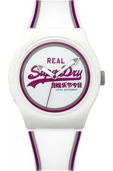 Superdry Unisex Urban Retro Rubber Watch SYG198WR - White & Purple