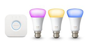 Philips Hue White & Colour Ambiance Wireless Lighting B22 Starter Kit, Includes Hub & 3 Colour Bulbs