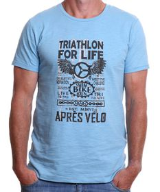 Apres Velo Triathlon For Life Mens Tee in Blue