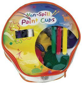 6 Non-spill Paint Cups, 6 Chubby Paint Brushes w/apron & palette, plastic carrying case