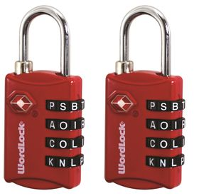 Wordlock - TSA Luggage Lock - Red (set of 2)