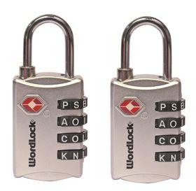 Wordlock - TSA Luggage Lock - Silver (set of 2)