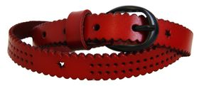 Ladies Genuine leather Belt D Red