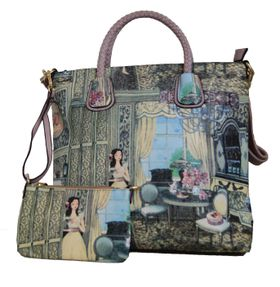 Maxi French illustration pu leather  tote bag  8026-1 Apricot
