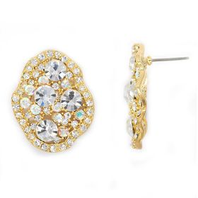 Bella Bella Ab Crystal And Gold Cluster Chunky Stud Earring (TBE104)
