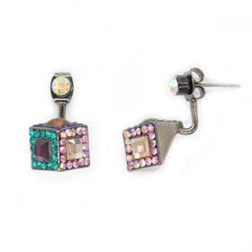 Bella Bella 3 Sided Colour Crystal Cube Earring (TBE105)