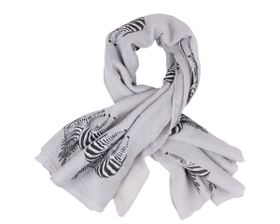 That's a Wrap Ladies Light Grey Scarf With Printed Black and White Zebra pattern.