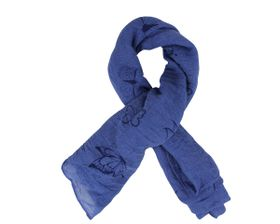 That's a Wrap Ladies Royal Blue Scarf With Printed Black Butterfly pattern.