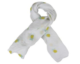 That's a Wrap Ladies White Scarf With Printed Yellow Pineapple pattern.