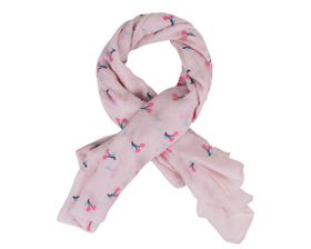 That's a Wrap Ladies Pink Scarf With Embossed Magenta Pink Cherry pattern.