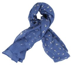 That's a Wrap Ladies Blue Scarf With Embossed Small White Daisy Flowers.